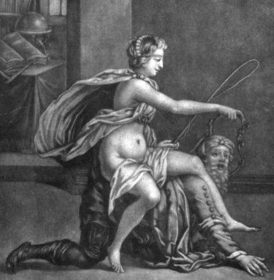 V0038902 Xantippe rides on the back of Socrates with a whip in her ha