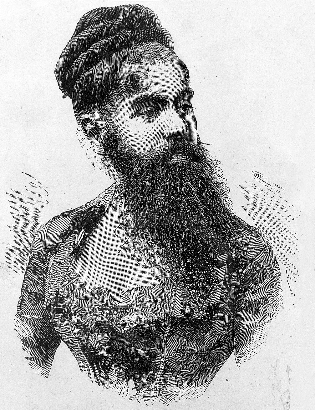 L0015038 Engraving and text on A. Jones-Elliot, a bearded woman.